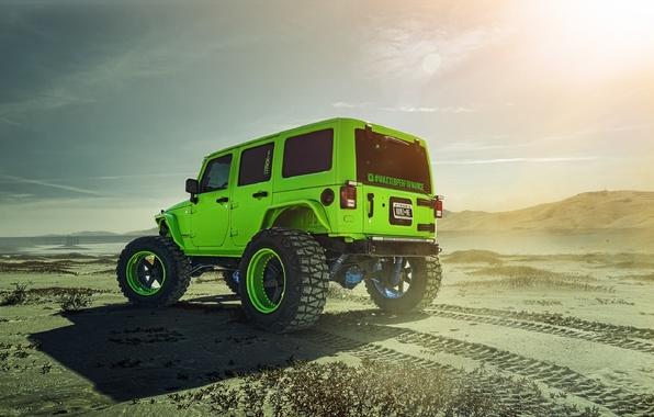 Картинка Green, Forged, Custom, Wrangler, Jeep, Wheels, Track, ADV1, Rear, Function