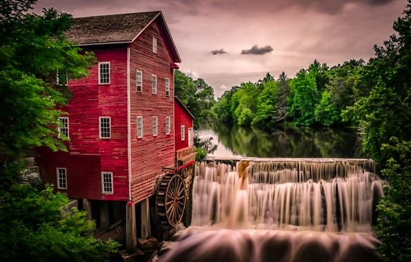Картинка река, водопад, Висконсин, мельница, водяная мельница, Wisconsin, Augusta, Аугуста, Dells Mill