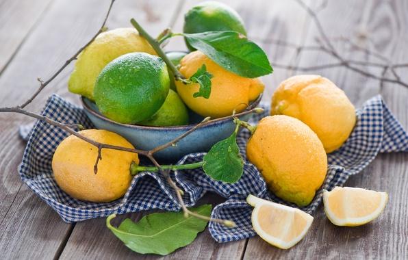 Картинка листья, лимон, посуда, лайм, фрукты, цитрусы, салфетка