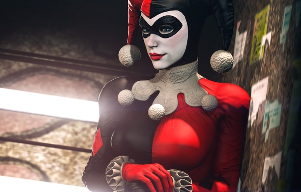 Картинка девушка, маска, костюм, злодей, Batman, classic, harley quinn