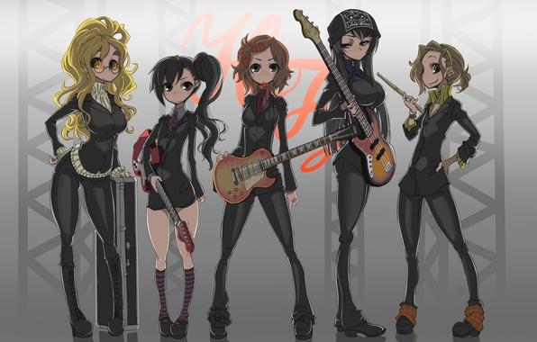 Картинка guitar, akiyama mio, k-on!, tainaka ritsu, hirasawa yui, kotobuki tsumugi, nakano azusa