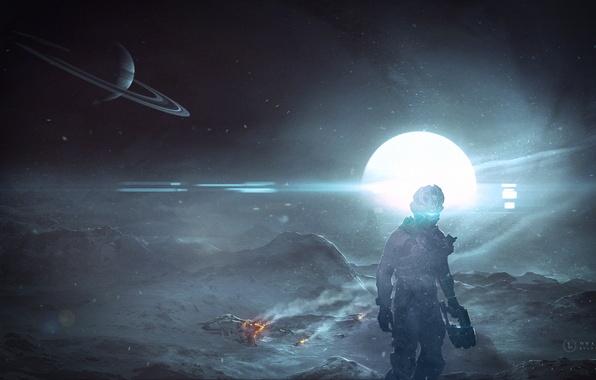 Картинка обломки, звезда, планета, костюм, метель, Dead Space, резак, Isaac Clarke