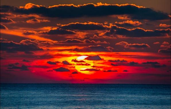Картинка белый, фиолетовый, солнце, закат, оранжевый, красный, жёлтый, вечер, крым, россия, облачность, чёрное море, херсонес, сергей …