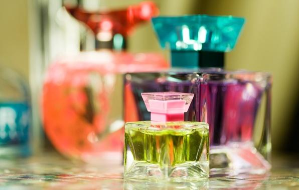 Картинка цветные, духи, размытость, парфюм, флаконы