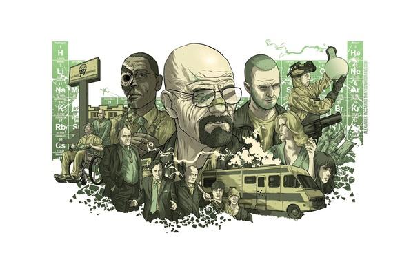 Картинка коллаж, рисунок, сериал, постер, персонажи, Во все тяжкие, Breaking Bad