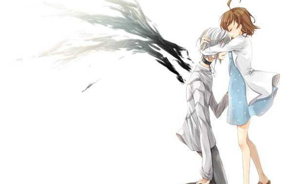 Картинка девушка, крылья, аниме, арт, объятия, парень, misaka mikoto, индекс волшебства, to aru majutsu no index, …