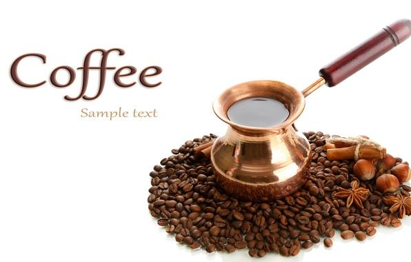Картинка фон, кофе, зерна, ручка, coffee, турка, молотый