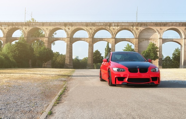 Картинка красный, bmw, бмв, купе, red, wheels, e92