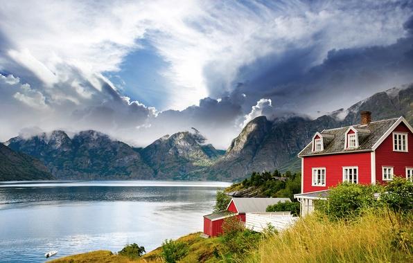 Картинка пейзаж, горы, озеро, дом, Норвегия, Norway, фьорд