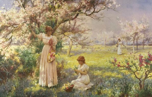 Картинка деревья, цветы, девушки, весна, сад, girl, прогулка, цветение, вишни, Spring, garden, cherry, picking flowers, blossoms
