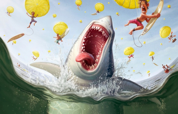 Картинка люди, акула, парашют