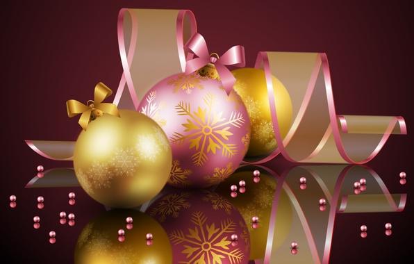 Картинка холод, цвета, шары, милая, розовая, шар, рождество, красота, colors, golden, Happy New Year, Christmas, золотистый, …