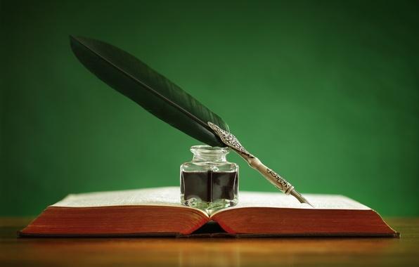 Картинка перо, книга, чернила