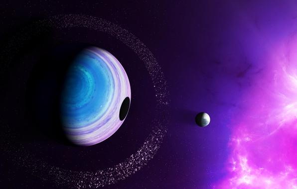 Картинка небо, свет, туманность, планета, спутник, тень, кольцо, затмение