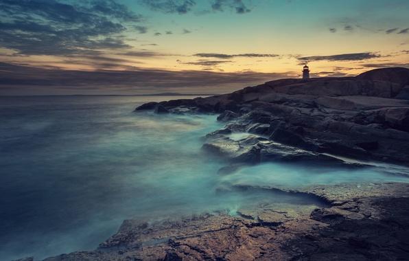 Картинка Sony, Blue, Coast, Wallpaper, Ocean, Lighthouse, Fog, Stock, Xperia