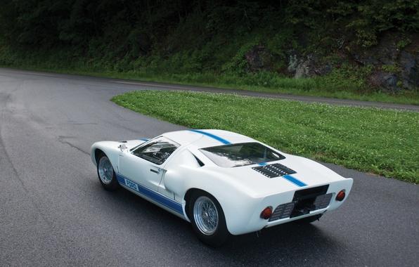 Картинка лес, белый, трава, Ford, поворот, Форд, вид сзади, 1966, гоночный болид, GT40, ГТ40
