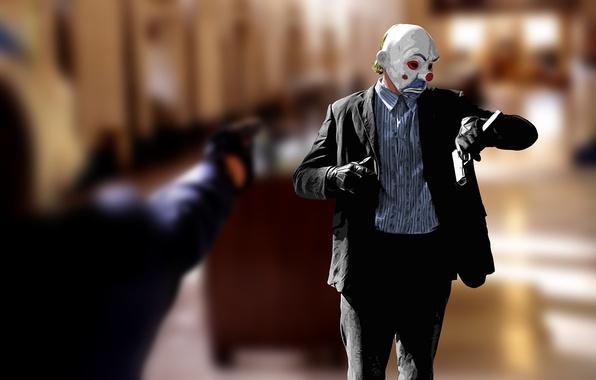 Картинка время, стиль, пистолет, batman, кино, рисунок, часы, клоун, маска, бэтмэн, тёмный рыцарь, dark knight, ДЖОКЕР