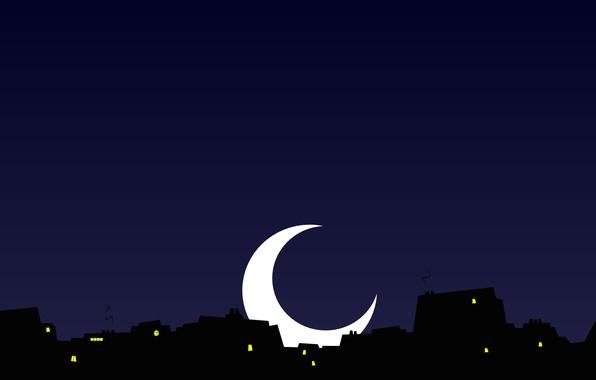 Картинка небо, ночь, город, огни, луна, окна, дома, месяц