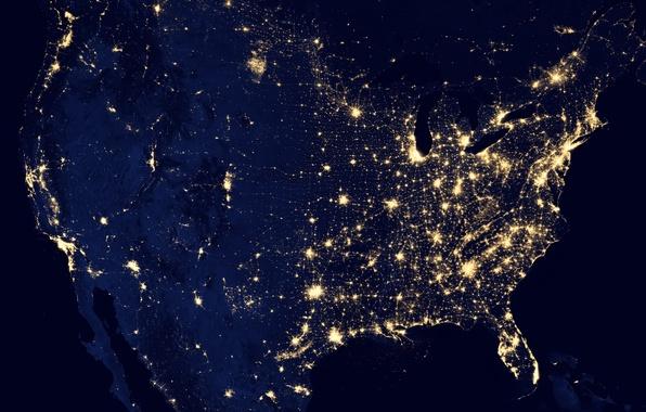 Картинка ночь, огни, земля, планета, сша, северная америка