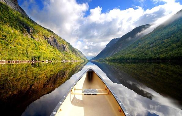 Картинка пейзаж, Новая Зеландия, речка, river, landscape, New Zealand, каное, canoe