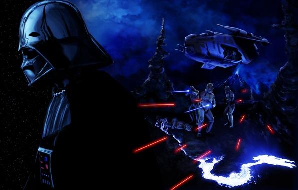 Картинка Star Wars, злодей, шлем, darth vader, art, stormtrooper