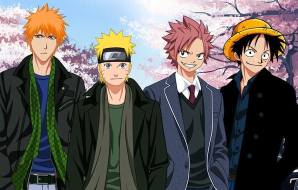 Картинка wallpaper, game, naruto, bleach, pirate, anime, kurosaki ichigo, one piece, crossover, ichigo, ninja, fairy tail, ...