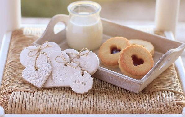 Картинка любовь, сердце, еда, молоко, печенье, love, пирожное, i love you, heart, food, сладкое, milk, biscuits