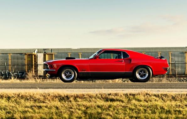 Картинка мустанг, red, форд, ford mustang, muscle car, автообои, mach 1, lunchbox photoworks