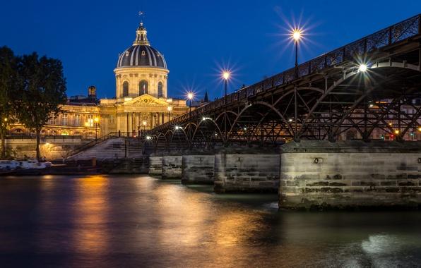 Картинка ночь, мост, город, река, Франция, Париж, лодки, вечер, Paris, France