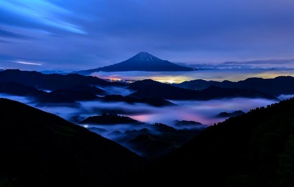 Картинка гора, вечер, Япония, Фудзияма, стратовулкан, 富士山, остров Хонсю