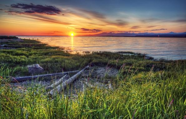 Картинка закат, река, берег, Канада, фотограф Иван Андреевич