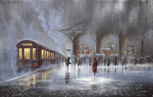Картинка люди, дождь, женщина, встреча, вокзал, поезд, картина, вагон, перрон, зонтики, мужчина, двое, ливень, Jeff Rowland