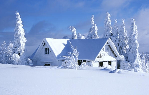 Картинка зима, небо, облака, снег, деревья, пейзаж, природа, дом, house, sky, trees, landscape, nature, winter, clouds, …