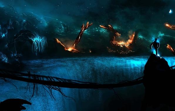 Картинка мост, скалы, огонь, темно, планеты, человек, арт, Alberto Vangelista