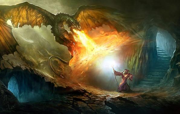 Картинка огонь, магия, дракон, лестница, скелет, маг, ступеньки, посох, пещера, битва, колдун
