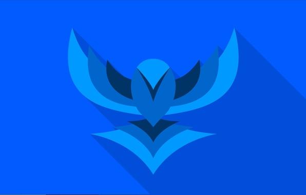 Фото обои птица, крылья, вектор, bird, blue, flat