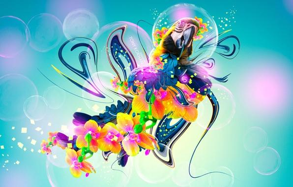 Картинка Цветы, Птица, Стиль, Обои, Попугай, Fantasy, Арт, Photoshop, Фотошоп, Flowers, Plastic, Neon, Parrot, Bird, 2014, …