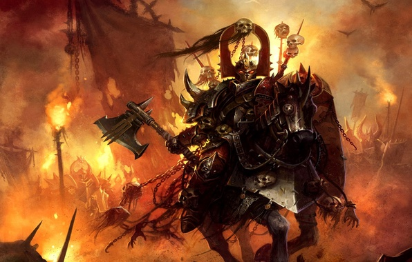 Картинка воин, Warhammer, рыцарь, хаос, чемпион кхорна