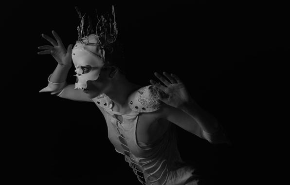 Картинка девушка, фон, маска, Daria France
