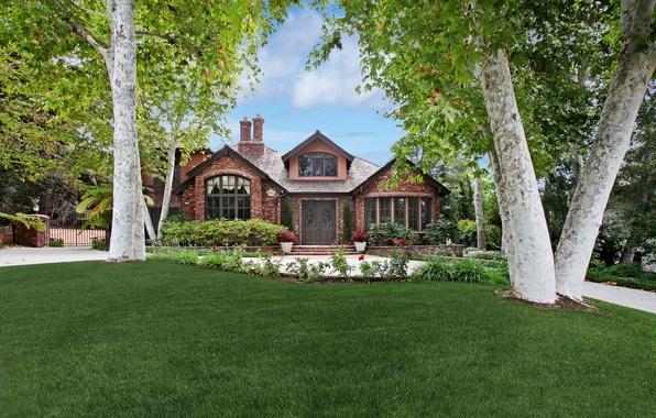 Картинка трава, деревья, цветы, дом, газон, красиво, Калифорния, США, особняк, кусты, San Juan Capistrano