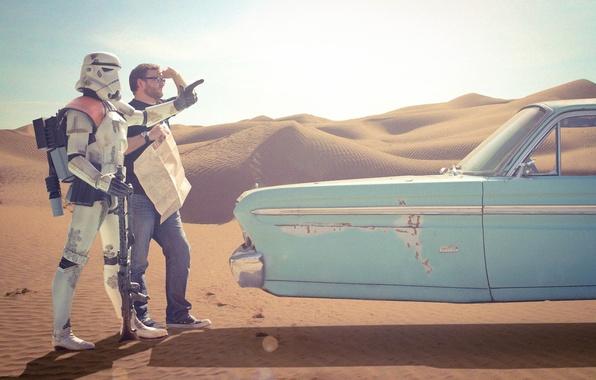 Картинка пустыня, мужик, Звёздные Войны, клон, Star wars