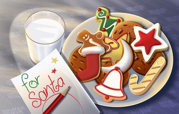 Картинка письмо, стакан, игрушки, звезда, новый год, молоко, подарки, сладости, Christmas, праздники, new Year