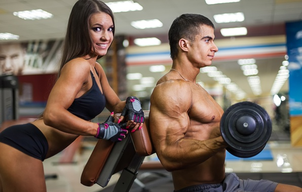 Картинка woman, muscles, look, pose, smiling, fitness, training, dumbbell, Herculean arm
