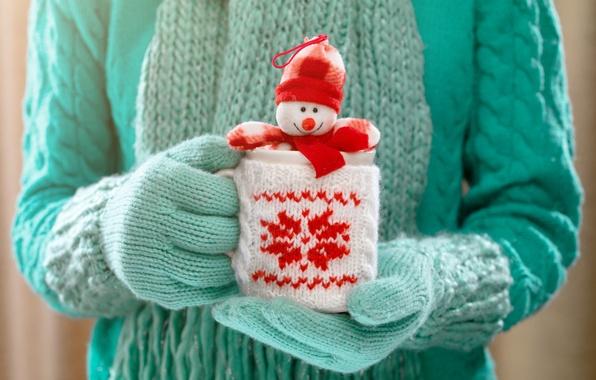 Картинка зима, руки, кружка, снеговик, winter, варежки, cup, какао, drink, hands