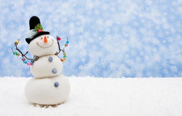 Картинка снег, шарф, Рождество, Новый год, снеговик, new year, Christmas, снежинка, snow, snowman, Праздники, snowflake, Holidays, …
