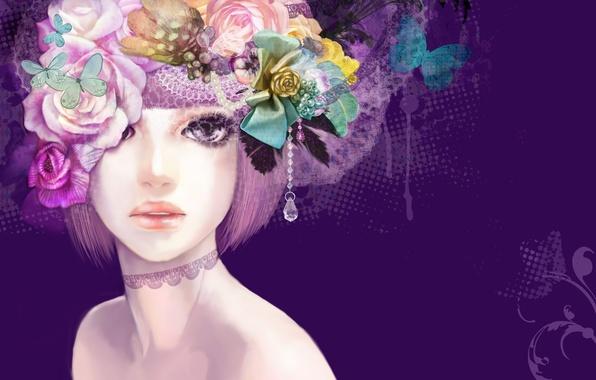 Картинка девушка, бабочки, цветы, рисунок, арт, кулон, фиолетовый фон
