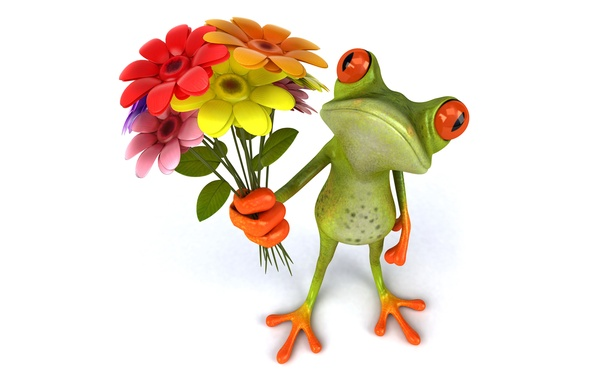 Картинка лягушка, frog, flowers, funny