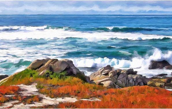 Картинка море, волны, небо, пейзаж, природа, камни