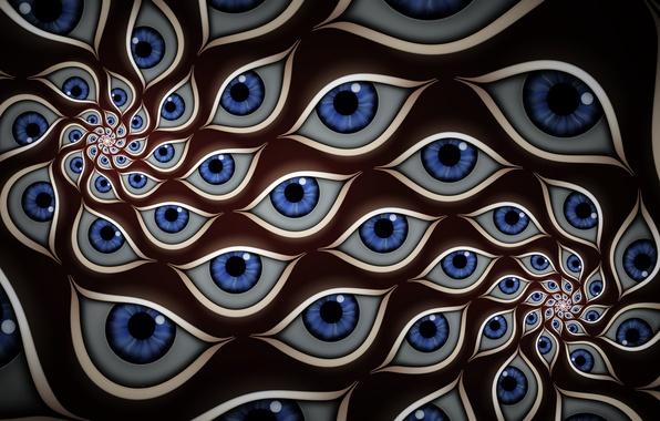 Картинка глаза, абстракция, голубой, цвет