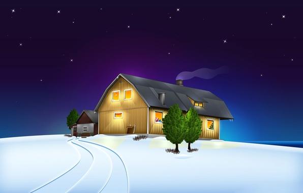 Картинка зима, небо, звезды, снег, пейзаж, ночь, дом, рождество
